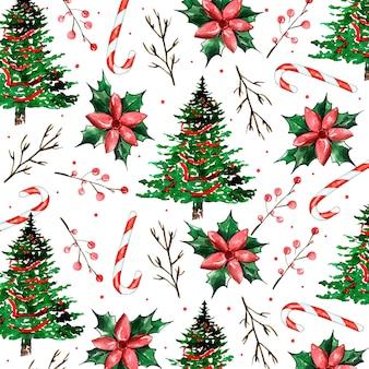 Aquarell-weihnachtsmuster-hintergrund
