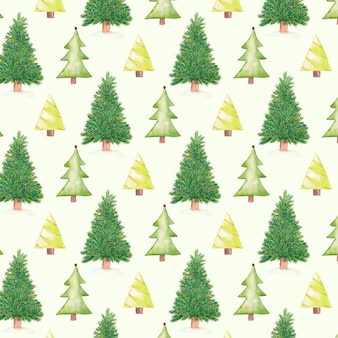 Aquarell weihnachtsmuster mit weihnachtsbäumen