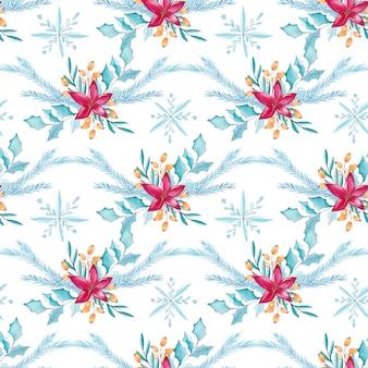 Aquarell-weihnachtsnahtloses mit blumenmuster