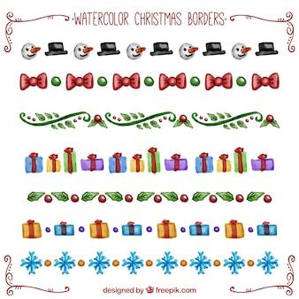 Aquarell weihnachtsränder pack