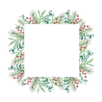 Aquarell-weihnachtsrahmen mit wintertannen- und tannenzweigen, beeren und eukalyptuszweigen.