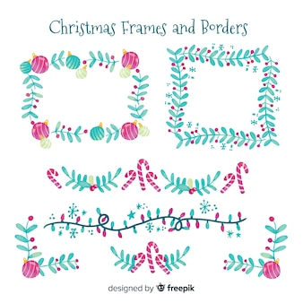 Aquarell weihnachtsrahmen und grenzen