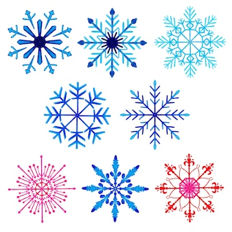 Aquarell-weihnachtsschneeflocken-sammlung
