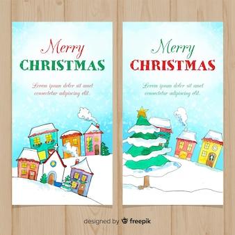 Aquarell weihnachtsstadt banner sammlung