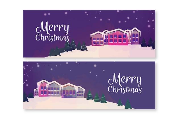 Aquarell weihnachtsstadt banner vorlage