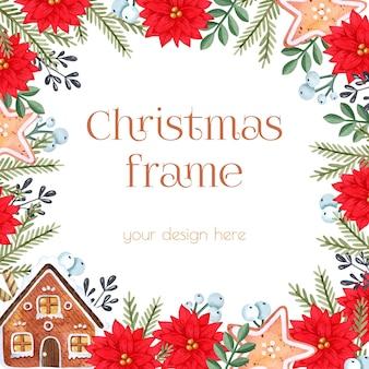 Aquarell weihnachtsstern und lebkuchenhaus rahmen vorlage weihnachtshintergrund