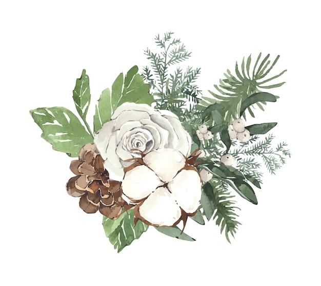 Aquarell weihnachtsstrauß mit tannennadeln eukalyptus und blumen