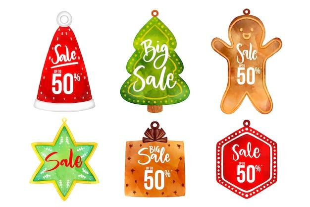 Aquarell weihnachtsverkauf tagsammlung