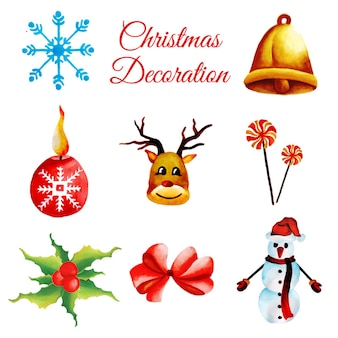 Aquarell-weihnachtsverzierungs-sammlung