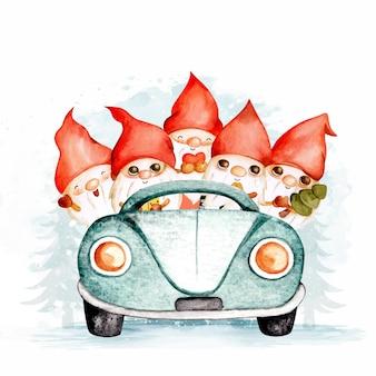 Aquarell weihnachtszwerge, die auto reiten