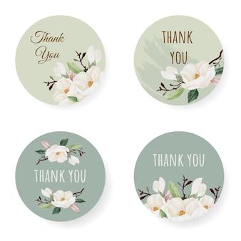 Aquarell weiße magnolie danke stickersammlung
