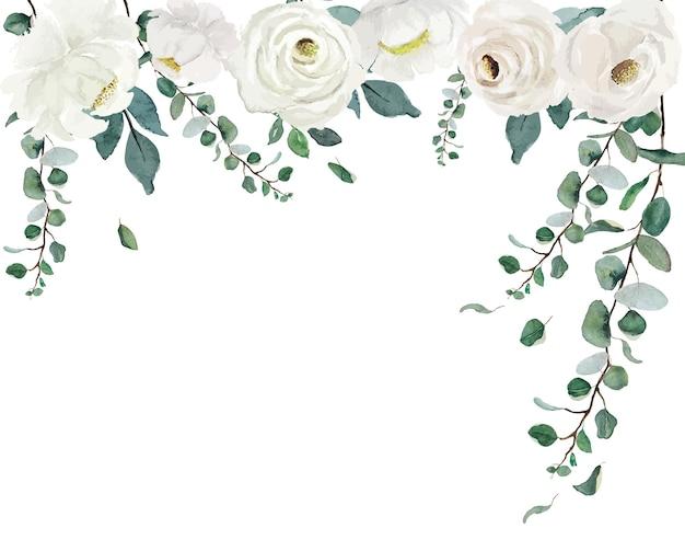 Aquarell weiße rosen mit grünem blattkettenvorhang über weißem hintergrund