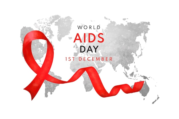 Aquarell welt-aids-tag-hintergrund