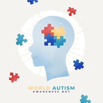 Aquarell-weltautismus-bewusstseins-tagesillustration mit puzzleteilen