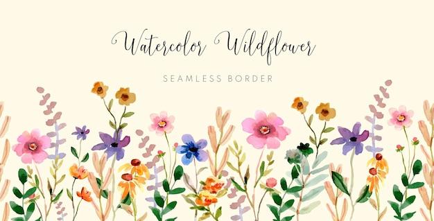 Aquarell-wildblumen-nahtloser grenzvektor
