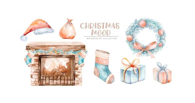Aquarell winter weihnachten clipart. handbemalte wohnkultur des neuen jahres, weihnachtsbaumzweige, kamin, socke, kranz, geschenk. frohe weihnachten. vintage illustration für design, druck oder hintergrund