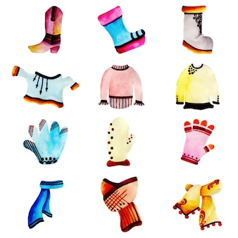 Aquarell winterkleidung kollektion