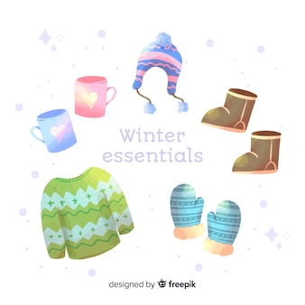 Aquarell winterkleidung und essentials