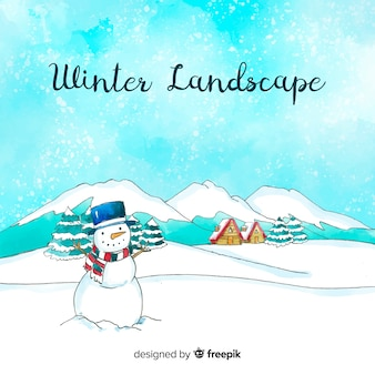 Aquarell winterlandschaft hintergrund