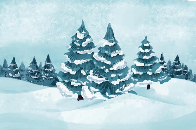Aquarell winterlandschaft