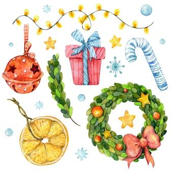 Aquarell winterset weihnachtselemente