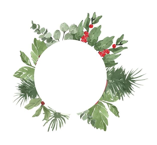 Aquarell winterweihnachtsrahmen mit tannennadeln und blumen