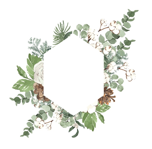 Aquarell winterweihnachtsrahmen mit tannennadeln und weißen blumen