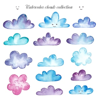 Aquarell wolken gesetzt