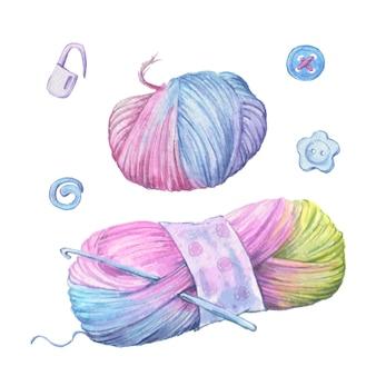 Aquarell wollknäuel zum stricken in form eines herzens.