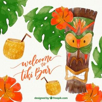 Aquarell wütend tribal totem mit kokosnuss-cocktails
