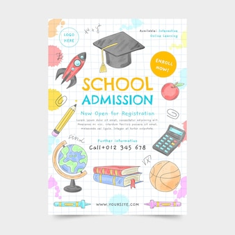 Aquarell zurück zu schule vertikale flyer vorlage