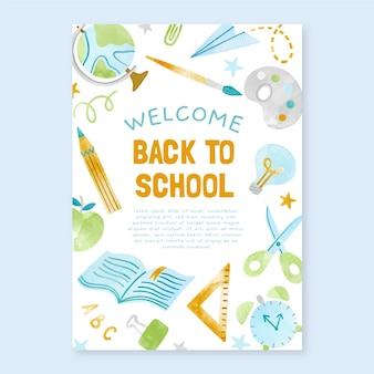 Aquarell zurück zu schule vertikale plakatvorlage