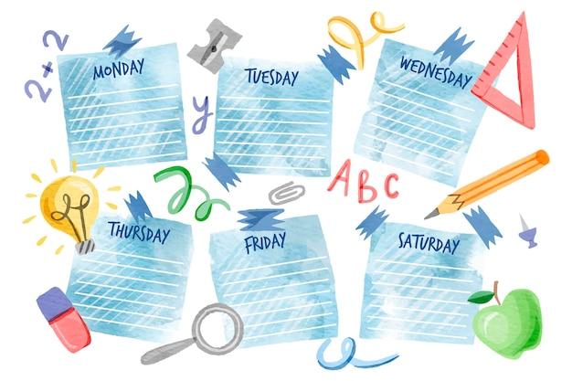 Aquarell zurück zum schulstundenplan