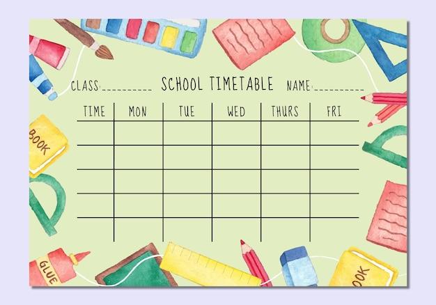 Aquarell zurück zur schule stundenplan vorlage