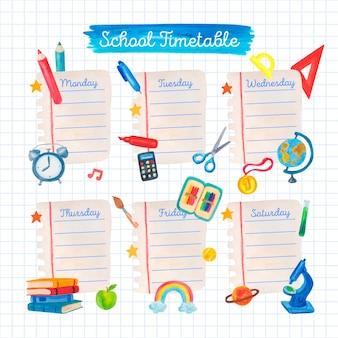 Aquarell zurück zur schule stundenplanvorlage