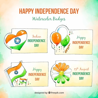 Aquarellabzeichensammlung für indischen unabhängigkeitstag