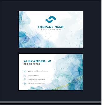 Aquarellalkoholtinte horizontale visitenkartenschablone