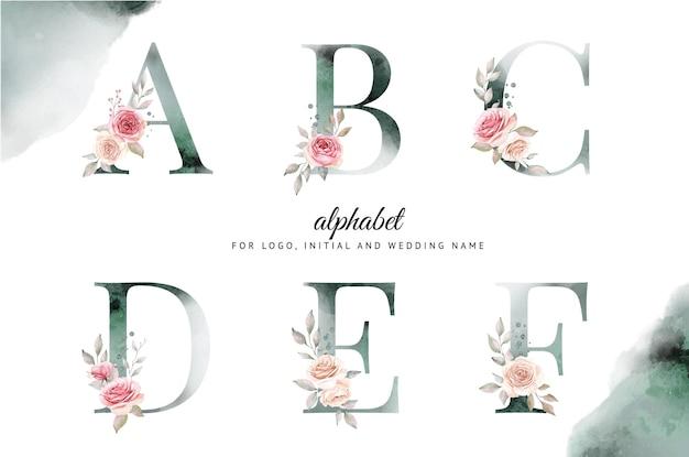 Aquarellalphabet-satz von a, b, c, d, e, f mit schönen blumen.
