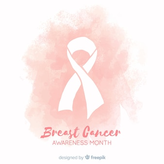 Aquarellart-brustkrebsbewusstsein mit band