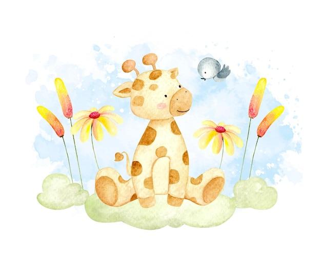 Aquarellbabygiraffe, die auf dem gras sitzt