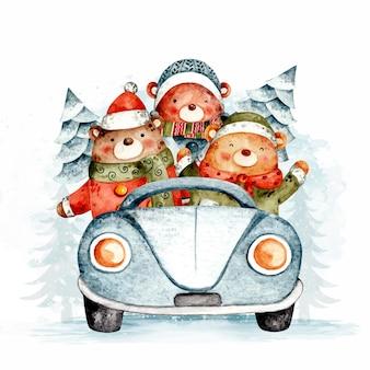Aquarellbären fahren auto mit weihnachtsbaum