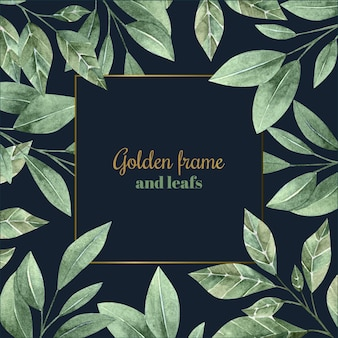 Aquarellblätter mit goldenem rahmen