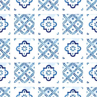 Aquarellblau azulejo fliese nahtloses muster