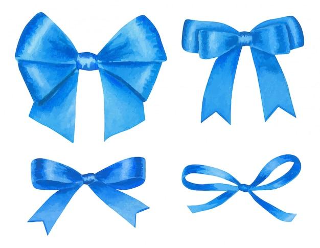 Aquarellblau eingestellt mit bunten satinschleifen, lokalisiert auf weiß.