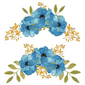 Aquarellblaue blumenanordnung für dekorationselement