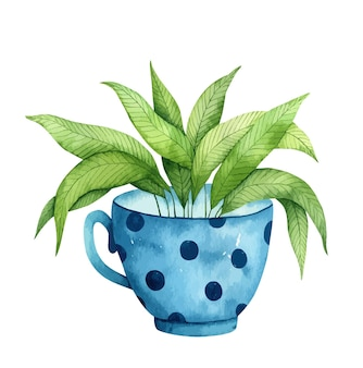 Aquarellblauer becher mit einer grünen pflanze innen isoliert