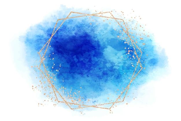 Aquarellblauer fleck mit polygonalem rahmen