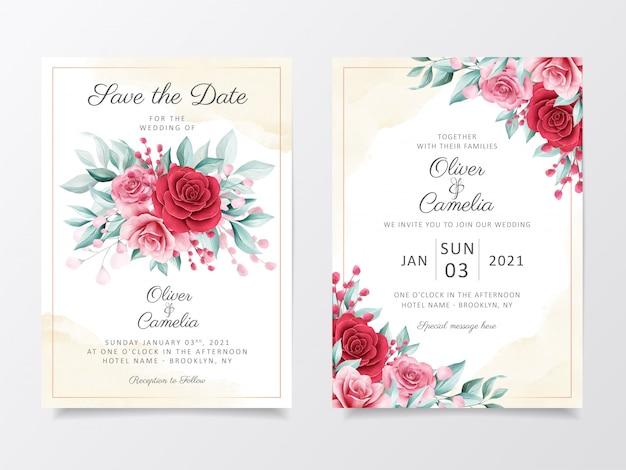 Aquarellblumen, die einladungskarten-schablonensatz wedding sind.