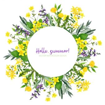 Aquarellblumen, kräuter und grün, runder rahmen