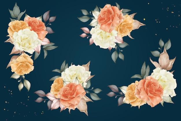 Aquarellblumen- und blattanordnungsschablonensammlung